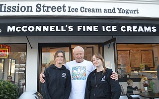 The Moss family in front of Mission Street Ice Cream and Yogurt.