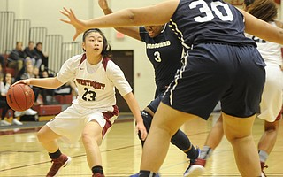 The Westmont College basketball team played a tough defensive game against Vanguard in February but lost the match