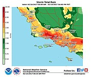 Rain should pelt mountain areas hardest on Thursday-Saturday, as shown on this rainfall map prepared by the National Weather Service Wednesday morning.