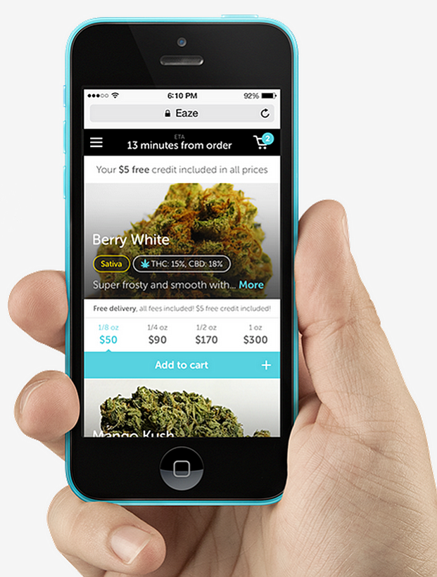 The 'Eaze' app for iPhone.