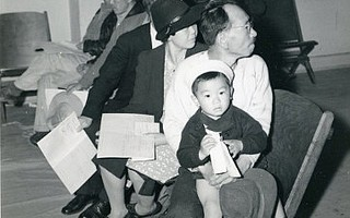 A Santa Barbara family awaits deportation in 1942.