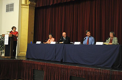 Jean Blois (seated left) and Margaret Connell (right) at a 2008 candidates forum, with Ed Easton (left) and Jim Gilman.
