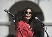 Goleta School Boardmember Susan Epstein at De la Guerra Plaza for a rally on International Women's Day