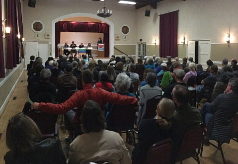 Indivisible Carpinteria filled Veterans Hall in a meeting addressing immigration on Monday.