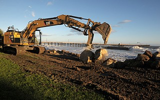 Rocks are being added to the shoreline in an effort to stop the erosion of Goleta Beach from winter storms