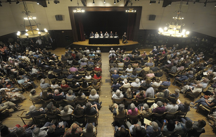 Congressman Salud Carbajal hosts standing room only town hall meeting to discuss possible effects of House Republican's health care plan to repeal and replace the Affordable Care Act at the Santa Barbara Museum of Natural History's Fleischmann Auditorium.
