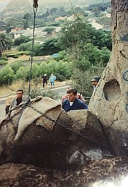Prep for placing the bust atop the boulder in 1993