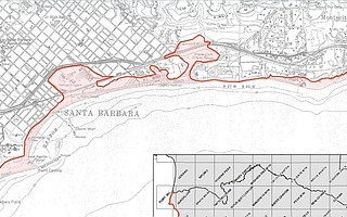 The Santa Barbara quadrangle and inundation zone, detailed in county reports.