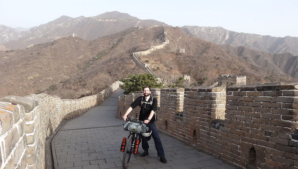 Patrick Martin Schroeder at China's Great Wall on his quest to visit every country in the United Nations.