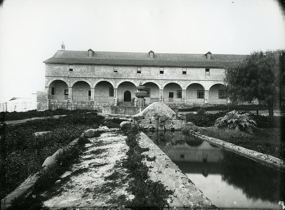 Mission Santa Barbara lavadero and fountain, c. 1885.