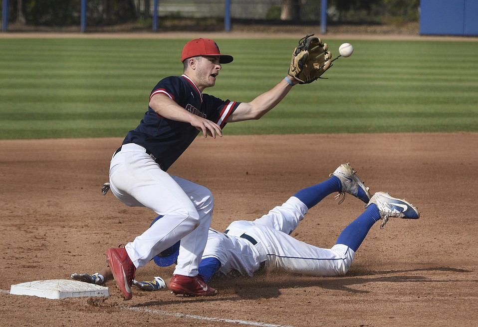 Colton Burns (38) has put some spark in the Gauchos on the field and at bat, hitting .393 and stealing third base with a head-first slide against Stony Brook.