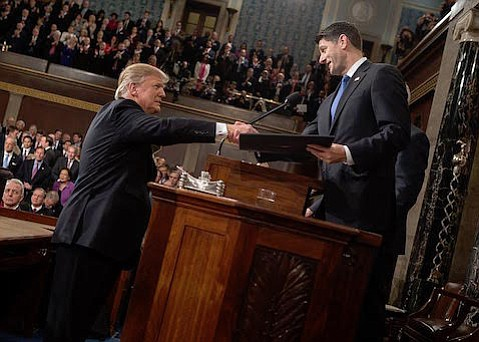 President Donald Trump (left) and House Speaker Paul Ryan, here at February's address to Congress, failed to get the American Health Care Act to a vote on Friday.