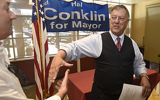 Mayoral candidate Hal Conklin greets supporters at his campaign kick-off.