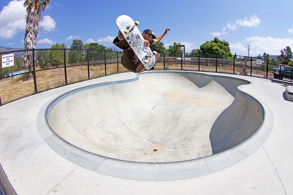 Ojai's Shane Allen floats a frontside aerial in the big bowl.