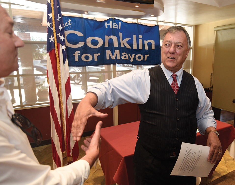 Hal Conklin greets a supporter at his campaign kickoff event this Monday.