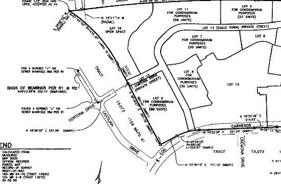 Lot 9, a topic of conversation at Goleta City Council Tuesday evening, occupies the lower left corner of the property map, as does the bridge to Cortona Drive.