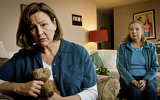 Leslie Gangl Howe, pictured with cast mate Elaine Arnett (right), portrays grieving mother Becca with intelligent humor and genuine warmth without losing the integrity of the character.