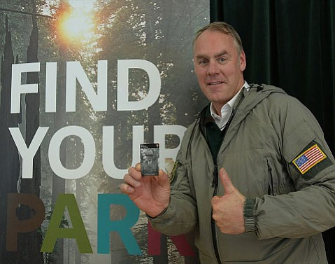 Secretary of the Interior Ryan Zinke visited Glacier National Park in March and is pictured here promoting the annual pass. He speaks at Santa Barbara's Reagan center on Monday.