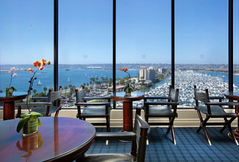 The high seas beckon out the windows of the Marina Tower Club in San Diego.