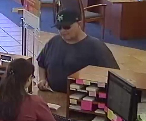 The Sheriff's Office asks for public help in identifying this man, who is suspected of robbing a Montecito Bank & Trust in Carpinteria on April 27.