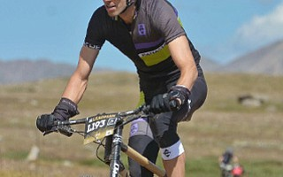 Erich Wegscheider rides a Boo Bicycles bamboo hardtail mountain bike in Colorado's Leadville 100.
