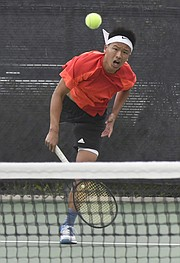 Kevin Ha of Cate School slugged out a tiebreaker victory over Miles Baldwin of Dos Pueblos in the CIF tennis sectionals.