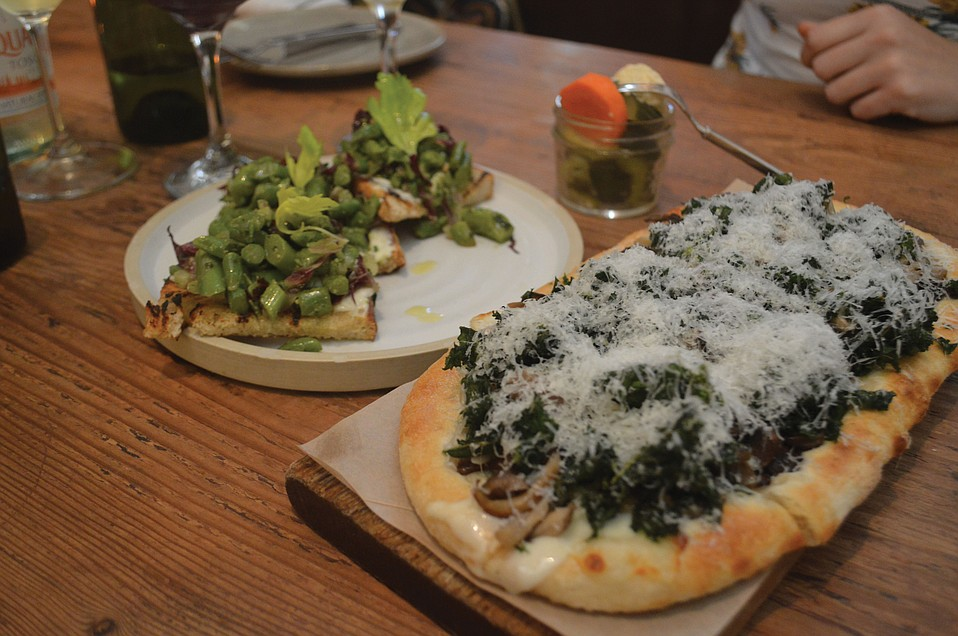 Asparagus & Mascarpone Toast and Wild Mushroom Flatbread