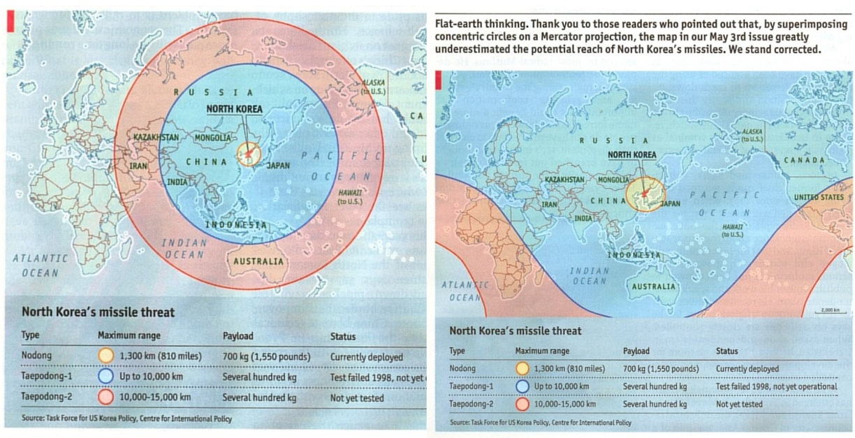 Thank You To Those Readers Who Pointed Out That, By Superimposing  Concentric Circles On A Mercator Projection, The Map In Our May 3rd Issue  (now Corrected ...