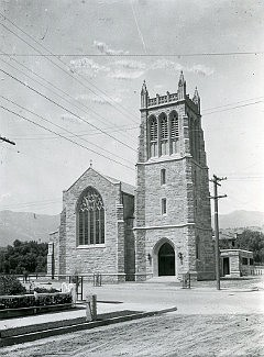 "Trinity Church, pictured here before the 1925 earthquake damaged it heavily but left it standing, dates from Santa Barbara's ""golden age"" of local stone masonry."