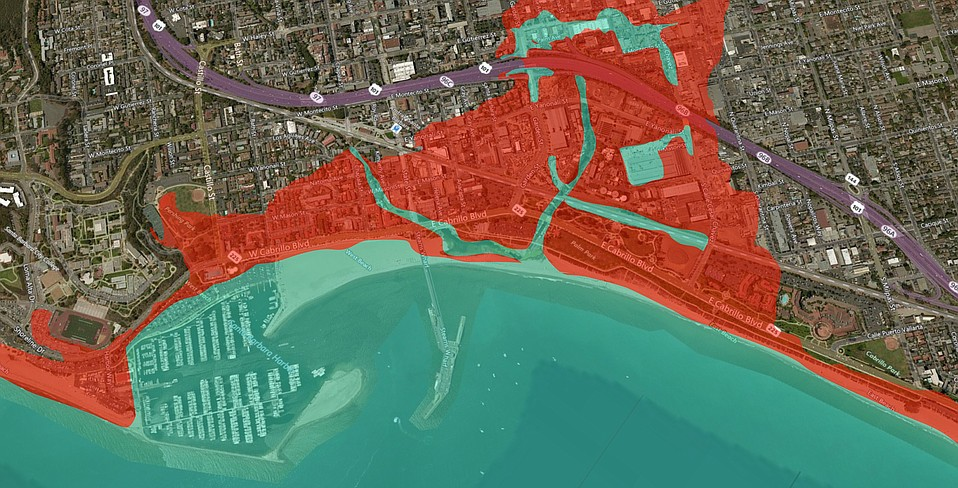 These are projections for future sea level rise, based on mapping data used for a 2012 study of the Santa Barbara coastline. Blue portions represent 17 inches of sea level rise by 2050, plus three feet 