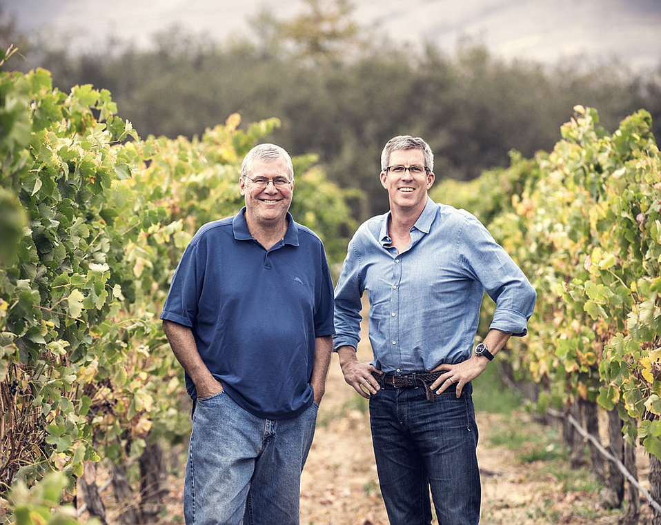Charles Banks (right) in 2013, with Bob Lindquist, from whom he bought Qupé Winery that year.