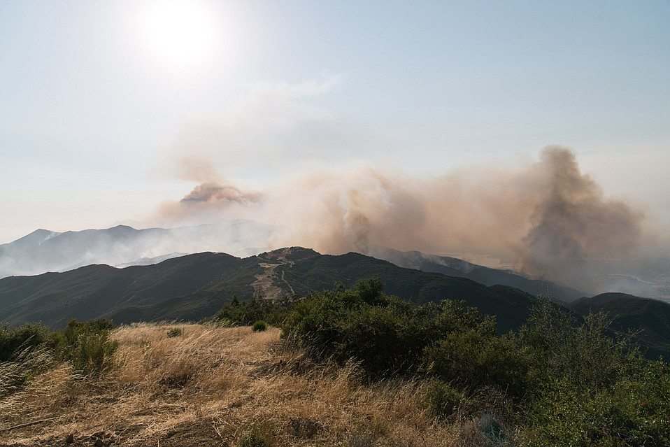 A look at the ridge where air and ground crews managed to halt the advance of the Whittier Fire