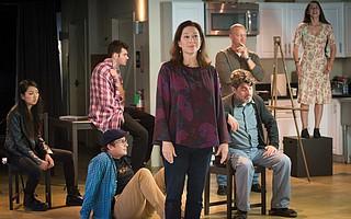Anne Torsiglieri and the cast of <em>Stupid Fucking Bird</em>