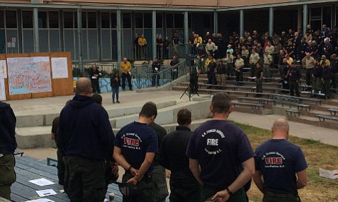 The Whittier Fire briefing Thursday morning stood for a prayer offered by the Chumash tribe.