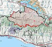 Whittier Fire map, July 18, 2017