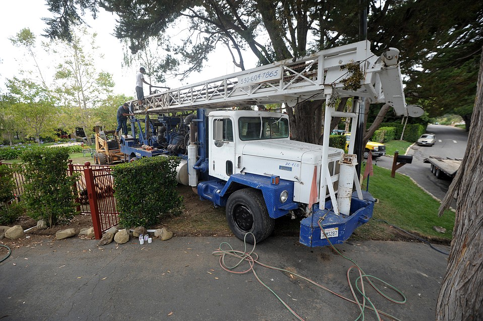 Water-well drilling operators like this one were backlogged in Montecito amid the drought. Each well can cost upward of $100,000.