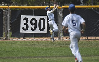 During their recent 11-game winning streak, the Santa Barbara Foresters benefited from a leaping catch by center fielder Austin Todd (above) and a home run by Hank LoForte (below) under a blazing sunset on Saturday.
