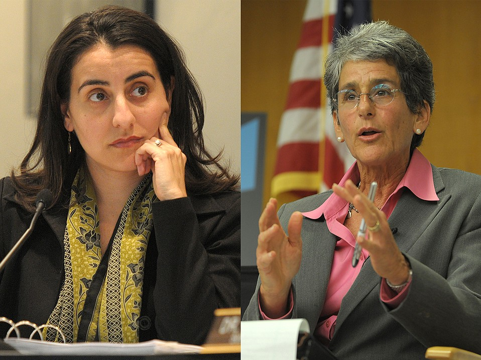 The governor's cap-and-trade package got people who normally argue to agree, and vice versa, as with State Assemblymember Monique Limón (left) and State Senator Hannah-Beth Jackson (right).