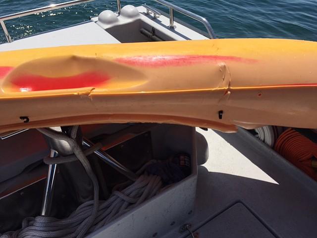 Brett Jackson's kayak was bitten by a great white shark on Thursday morning.