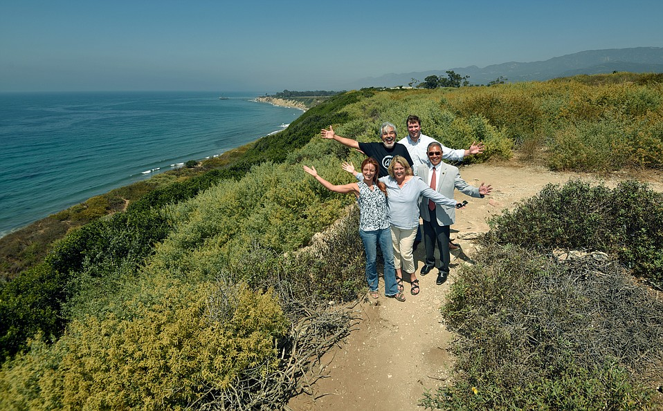 Clockwise from top left, artist Arturo Tello, the Land Trust's Chet Work, Carpinteria City Councilmember Wade Nomura, and the Land Trust's Carrie Mullen and Jennifer Stroh announce the purchase of 21 acres of Carpinteria Bluffs to be turned over to Carpinteria as a public open space and nature preserve.