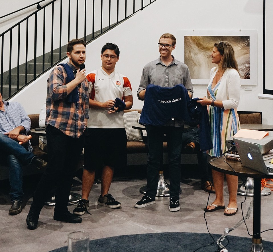 The winning Dimein team at Santa Barbara Startup Weekend 2017.