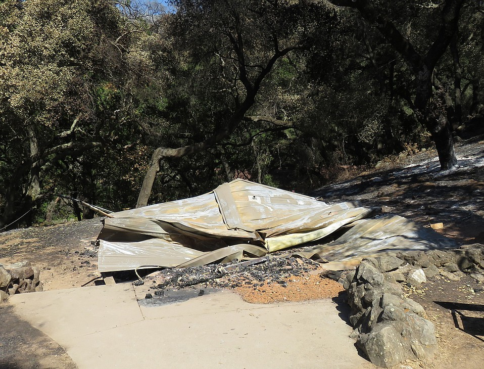 One of the structures at Circle V that was destroyed in the Whittier Fire