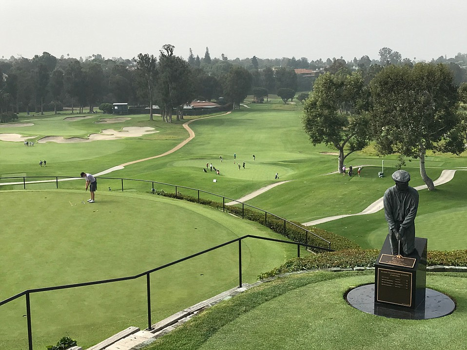 Riviera County Club, with a statue of Ben Hogan