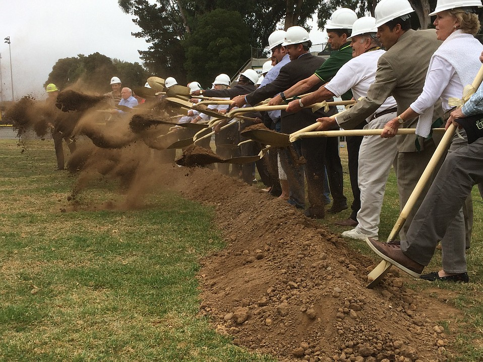 Golden shovel-wielding elected, appointed, and newly contracted earthmovers kicked off the estimated 20-month Peabody Stadium project Wednesday morning.