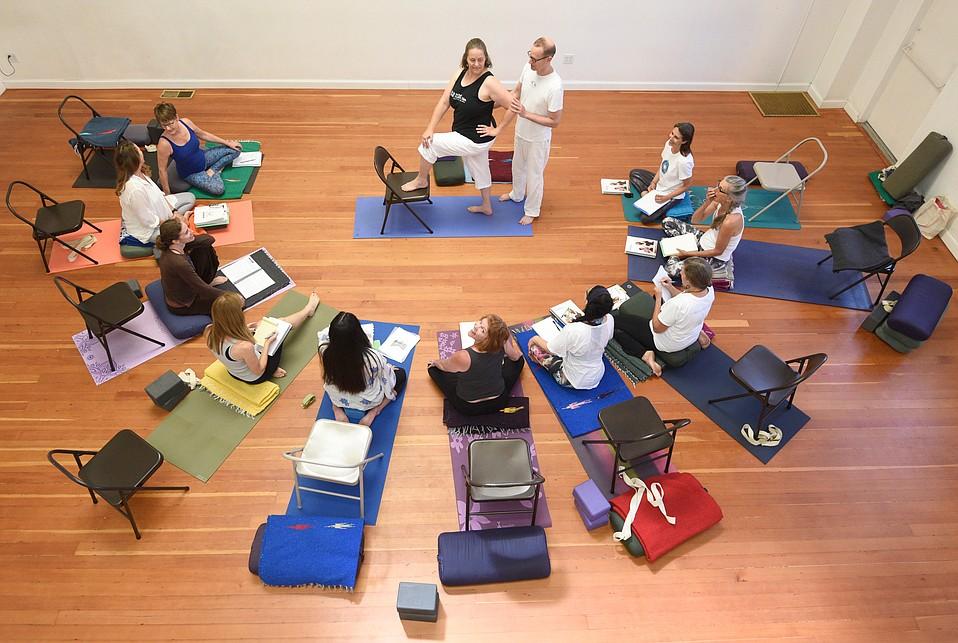 Jivana Heyman instructs a course at Santa Barbara Yoga Center.
