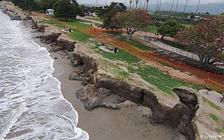 Cratering along the shore at Goleta Beach Park shows the effects of winter storms.