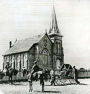 The first home for the First Congregational Church was at the southwest corner of Santa Barbara and Ortega streets.