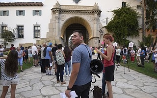Eder Gaona-Macedo of Future Leaders of America at a rally in defense of Deferred Action for Childhood Arrivals (DACA) at the Santa Barbara Courthouse
