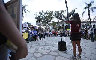 Nayra Pacheco (right) of Just Communities at a rally in defense of Deferred Action for Childhood Arrivals (DACA) at the Santa Barbara Courthouse