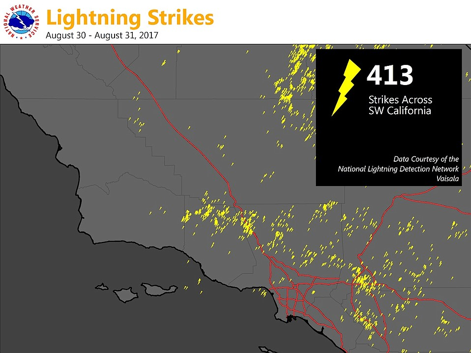 Lightning strikes recorded over Southern California during August 30-31, 2017, by the National Lightning Detection Network.